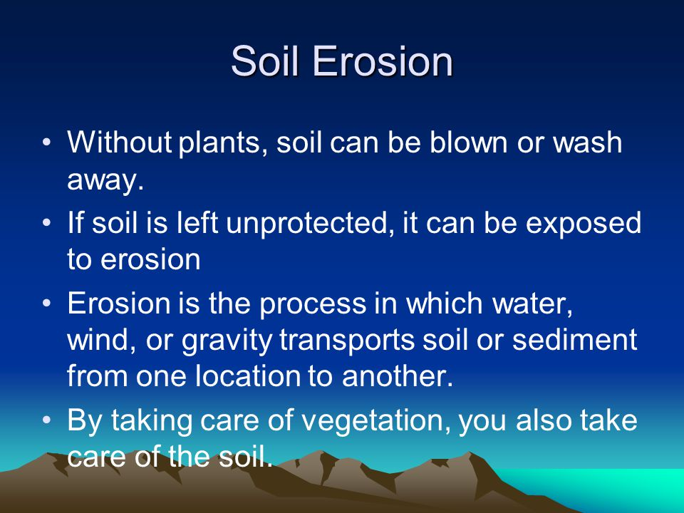 Soil Erosion Without plants, soil can be blown or wash away.