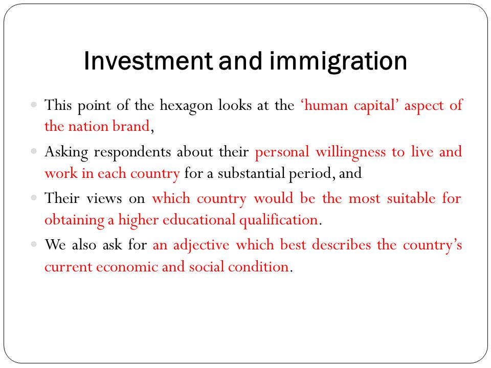Investment and immigration