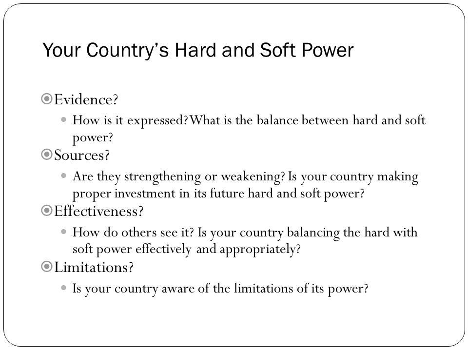 Your Country's Hard and Soft Power