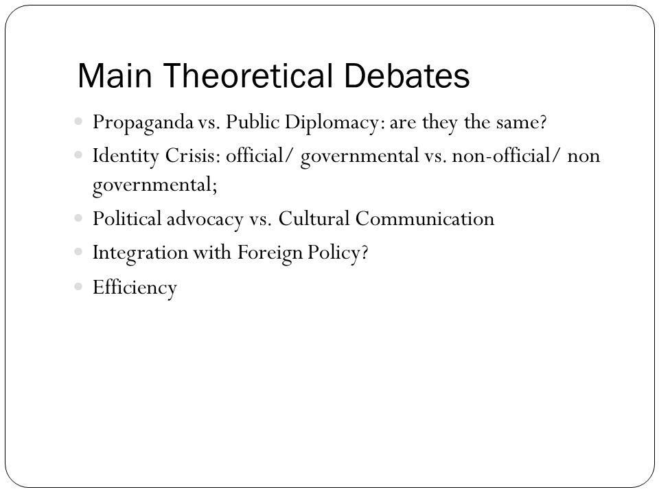 Main Theoretical Debates
