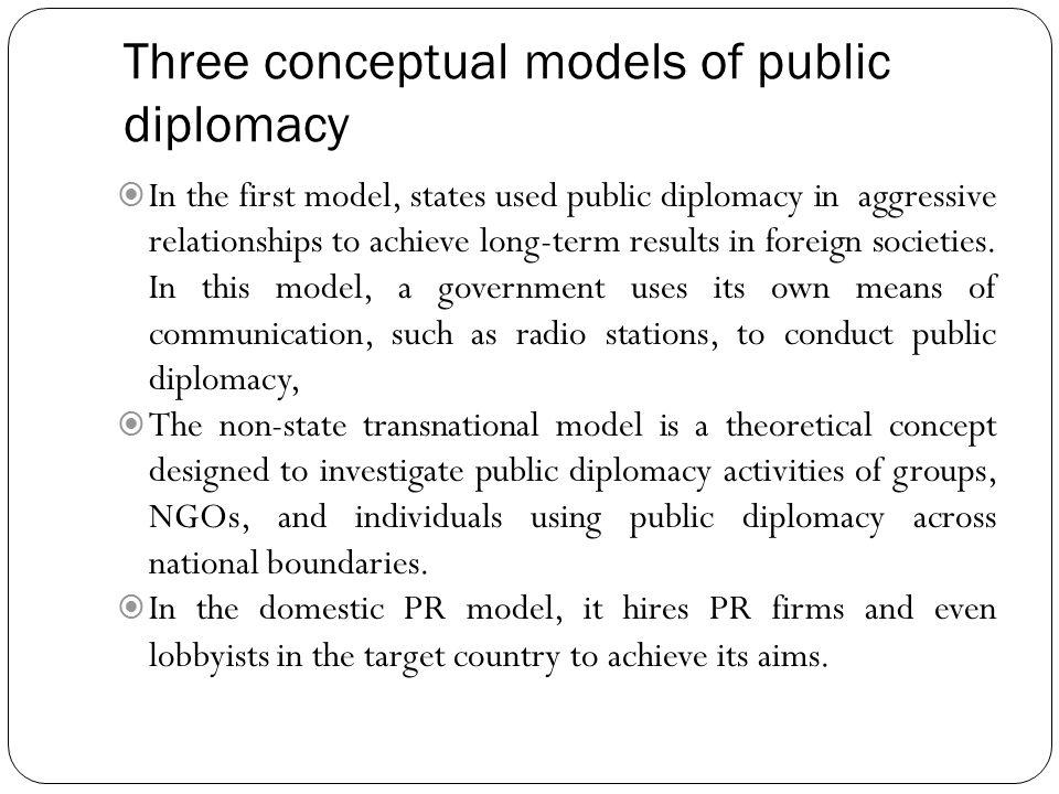 Three conceptual models of public diplomacy