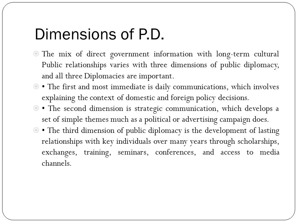 Dimensions of P.D.