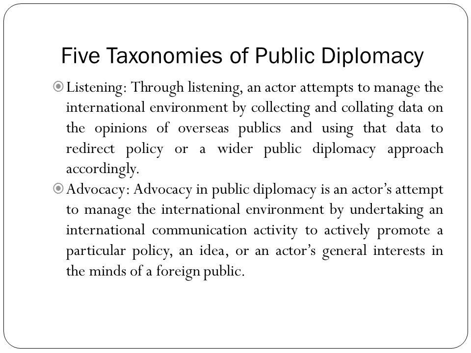 Five Taxonomies of Public Diplomacy