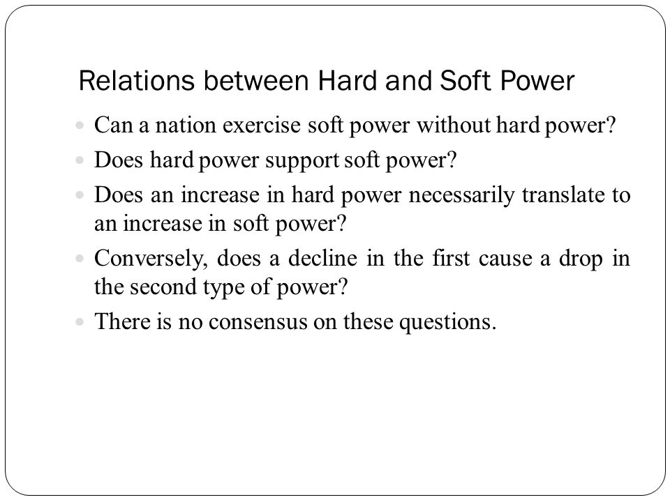 Relations between Hard and Soft Power