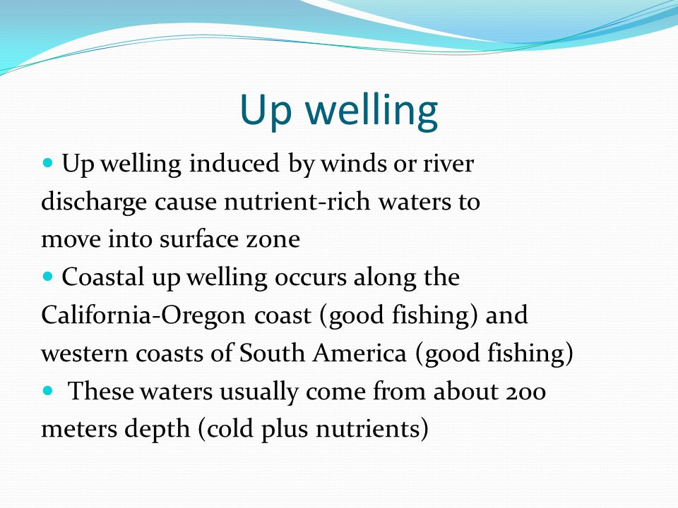 Up welling Up welling induced by winds or river