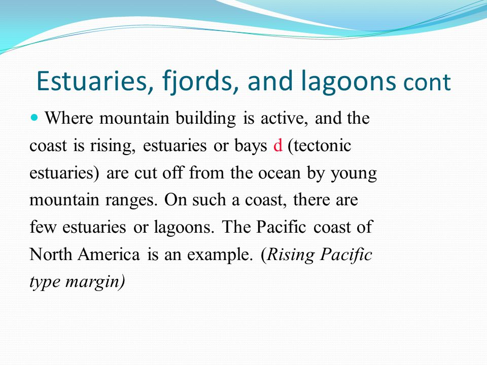 Estuaries, fjords, and lagoons cont