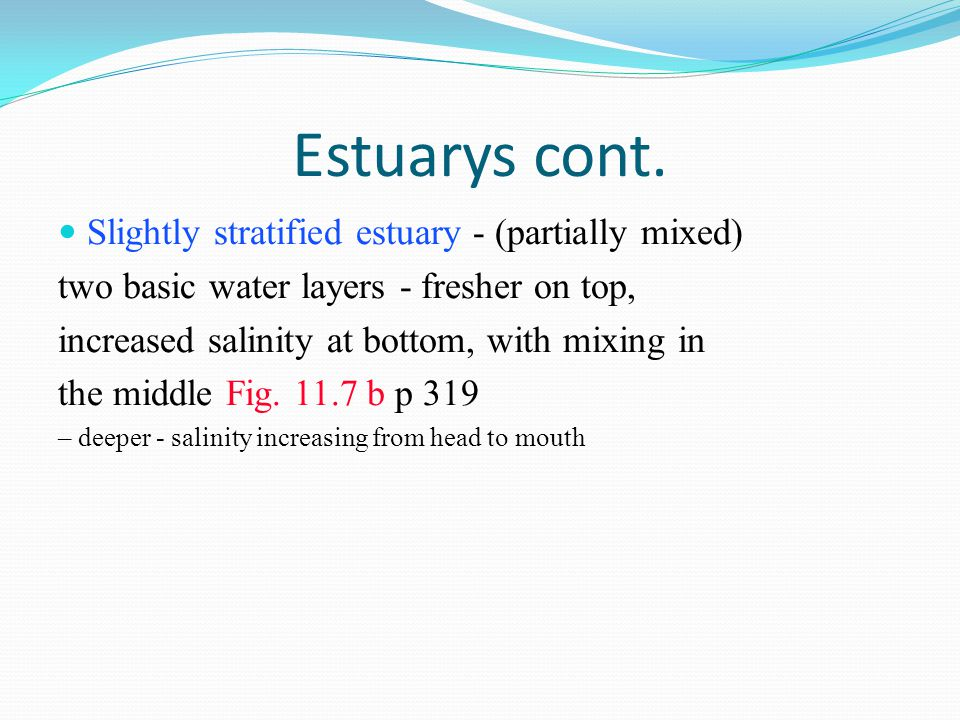 Estuarys cont. Slightly stratified estuary - (partially mixed)