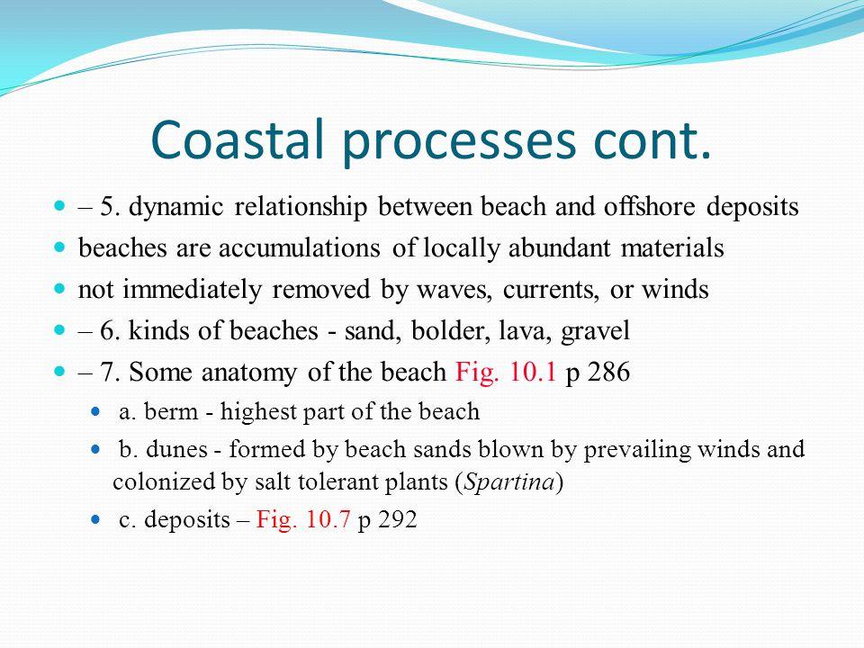 Coastal processes cont.
