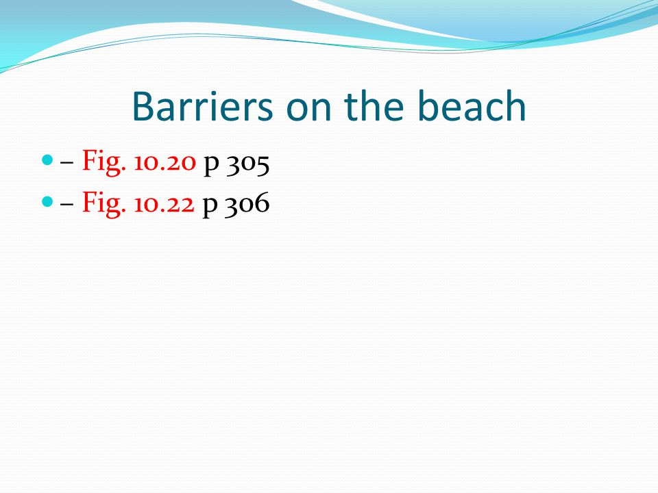 Barriers on the beach – Fig. 10.20 p 305 – Fig. 10.22 p 306