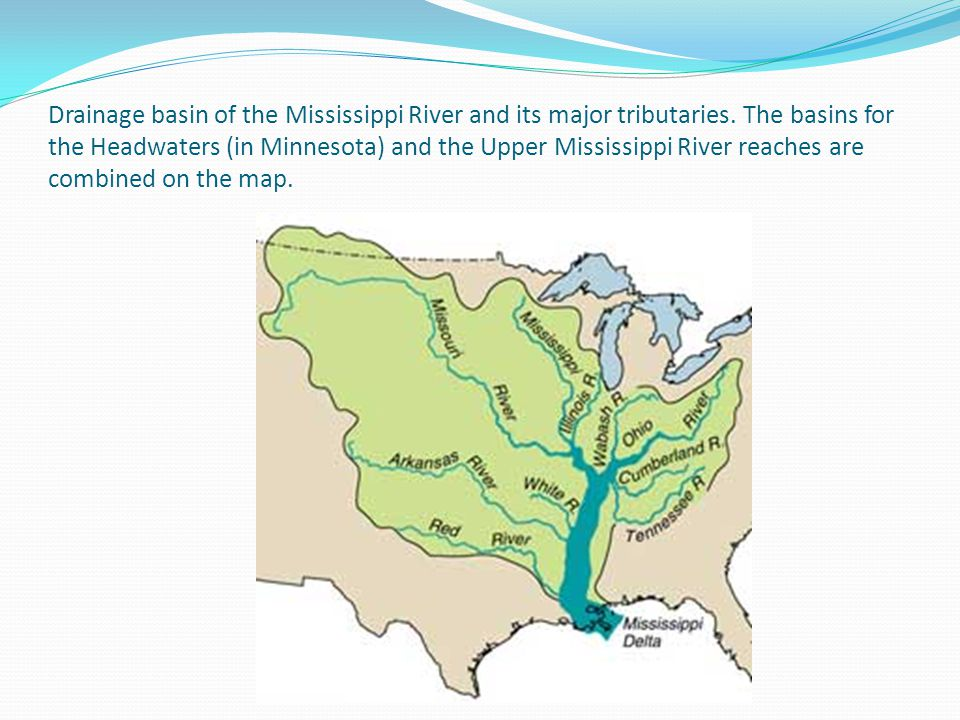 Drainage basin of the Mississippi River and its major tributaries