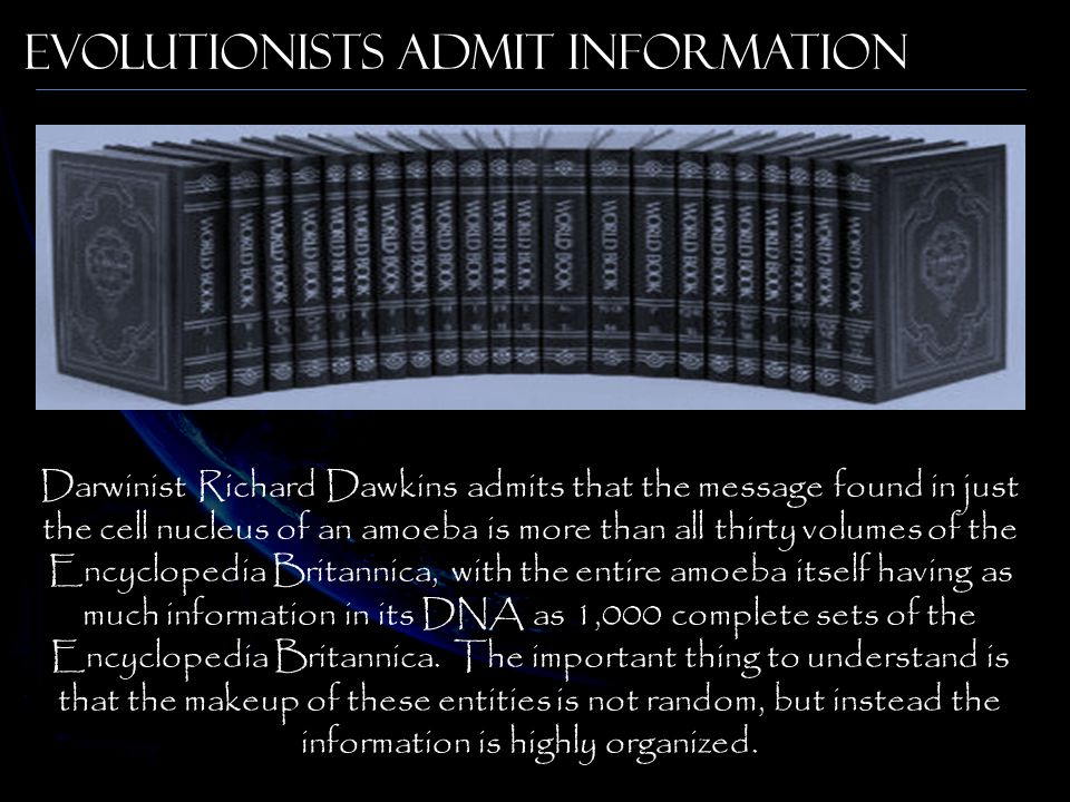 Evolutionists Admit Information