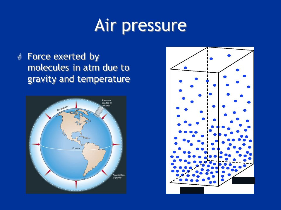 Air pressure Force exerted by molecules in atm due to gravity and temperature. July 11, 2006. NY Times.