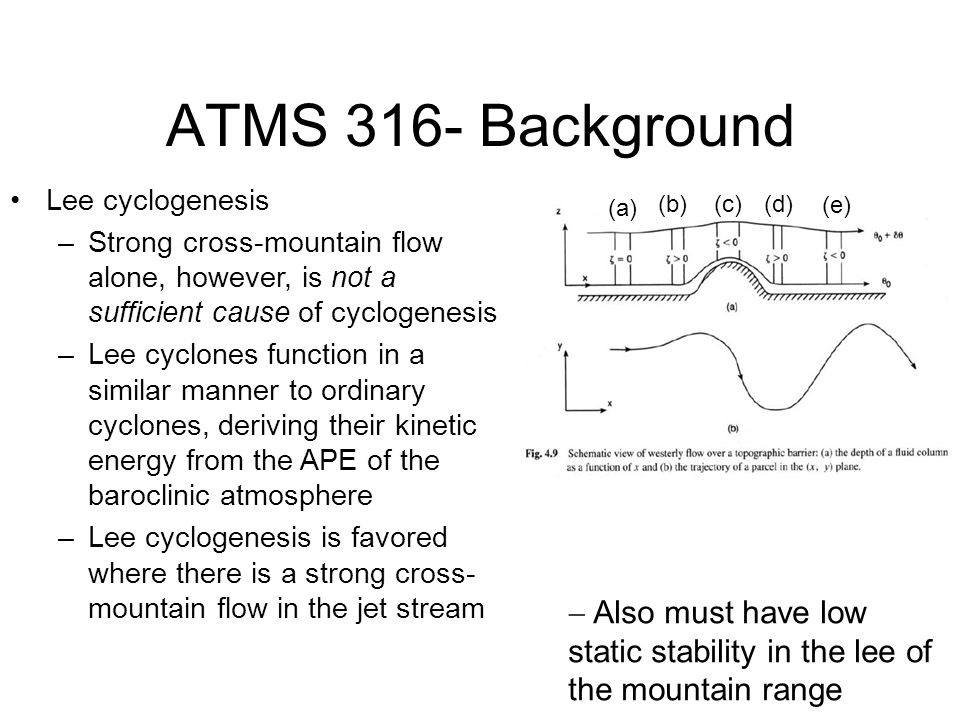 ATMS 316- Background Lee cyclogenesis. Strong cross-mountain flow alone, however, is not a sufficient cause of cyclogenesis.