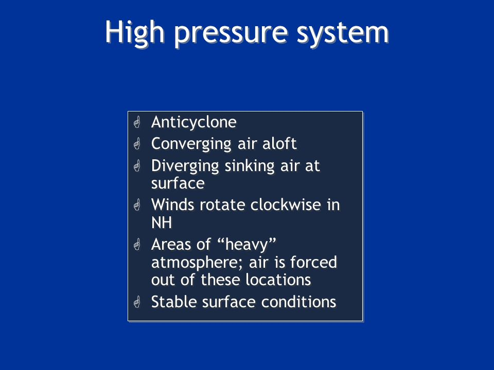 High pressure system Anticyclone Converging air aloft