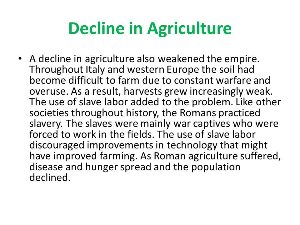 Decline in Agriculture