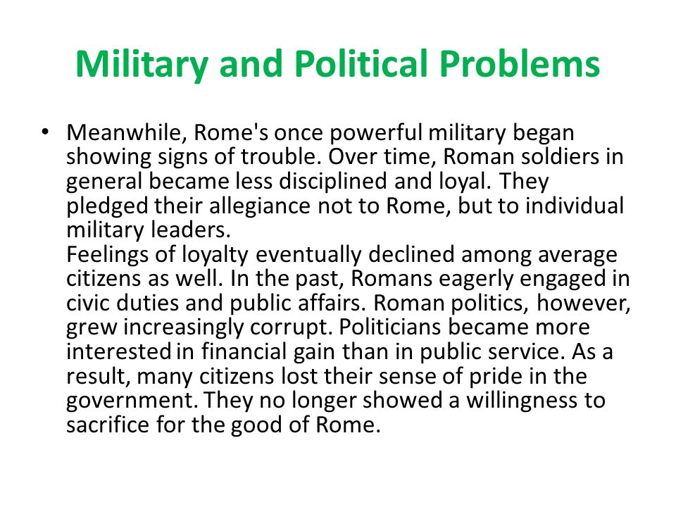 Military and Political Problems