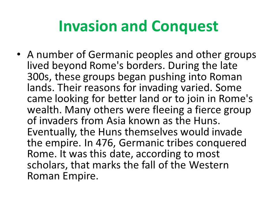 Invasion and Conquest