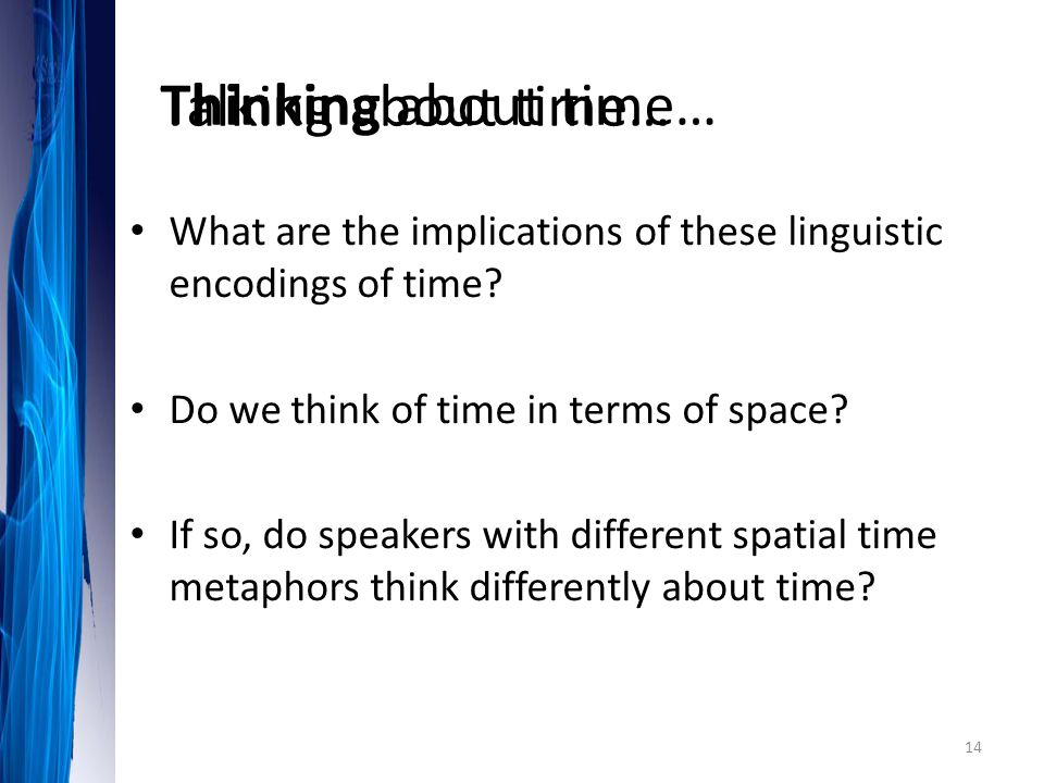 Talking about time… Thinking about time…
