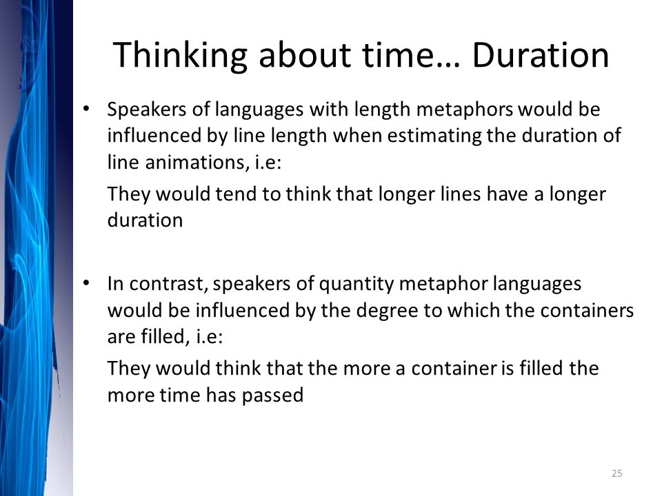 Thinking about time… Duration