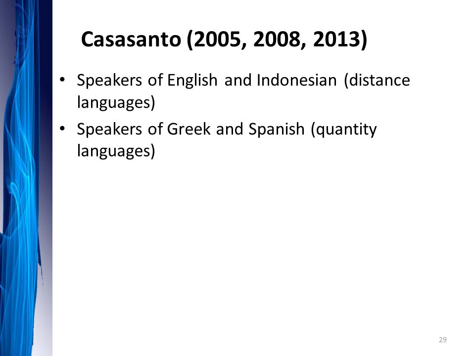 Casasanto (2005, 2008, 2013) Speakers of English and Indonesian (distance languages) Speakers of Greek and Spanish (quantity languages)