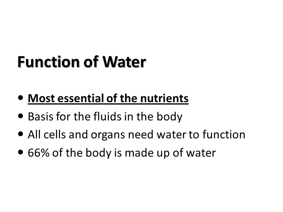 Function of Water Most essential of the nutrients
