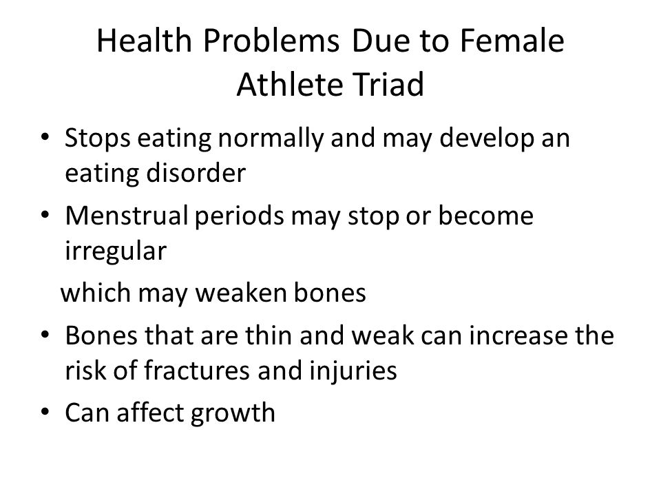 Health Problems Due to Female Athlete Triad