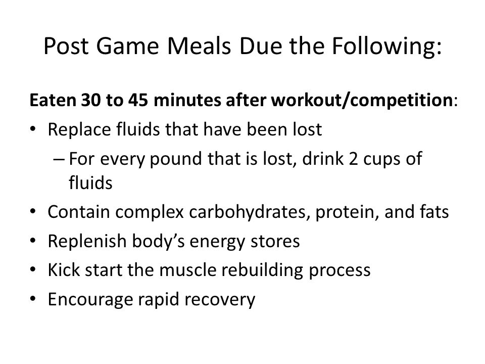 Post Game Meals Due the Following: