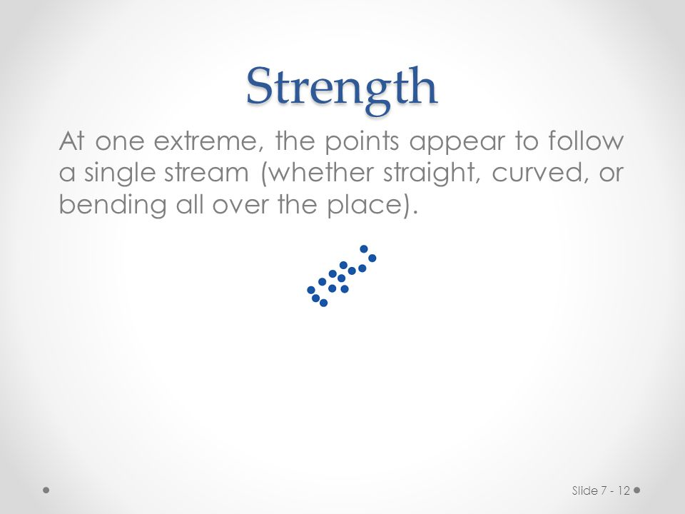 Strength At one extreme, the points appear to follow a single stream (whether straight, curved, or bending all over the place).