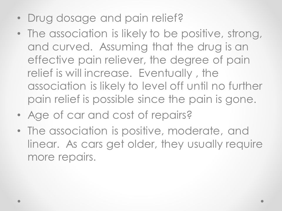 Drug dosage and pain relief