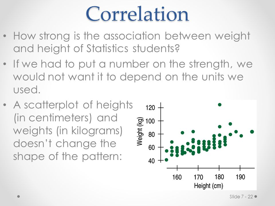 Correlation How strong is the association between weight and height of Statistics students