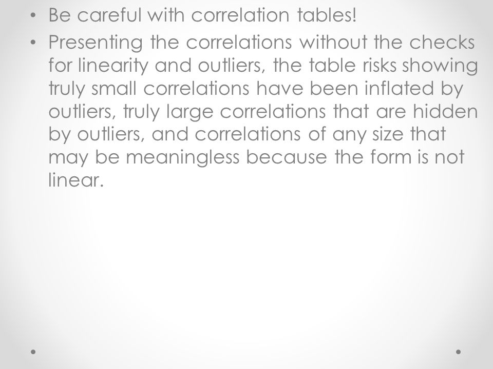 Be careful with correlation tables!