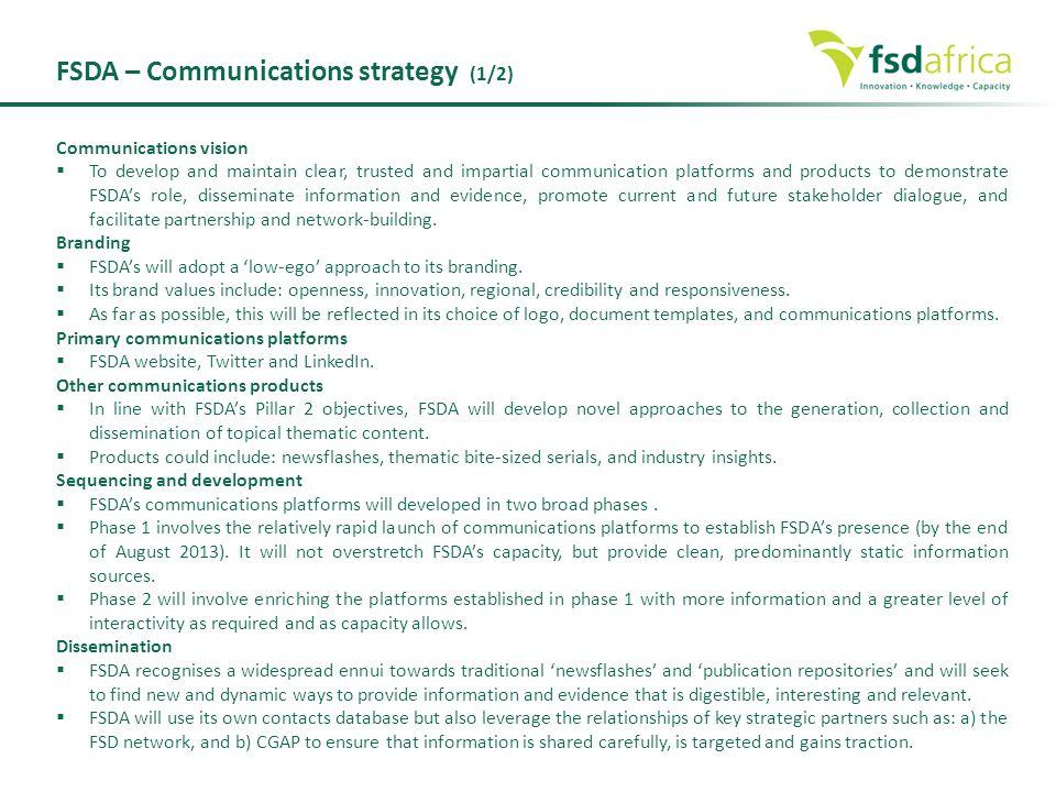 FSDA – Communications strategy (1/2)
