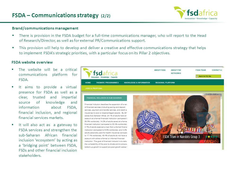 FSDA – Communications strategy (2/2)