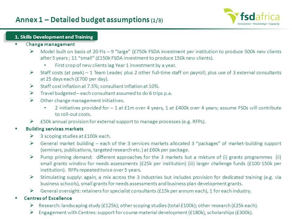 Annex 1 – Detailed budget assumptions (1/3)