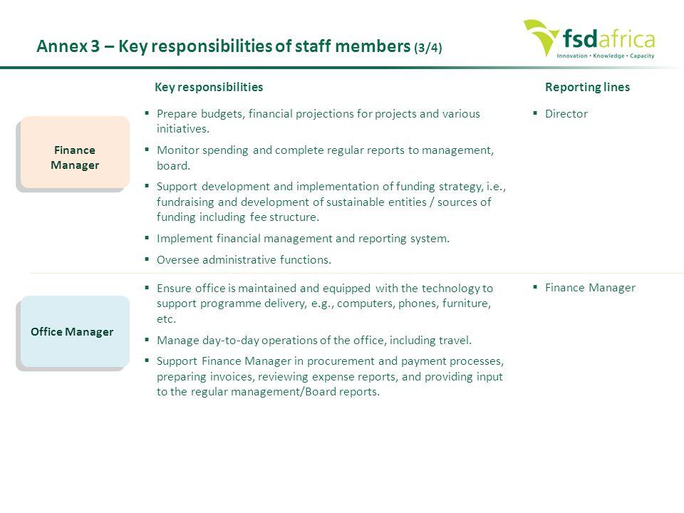 Annex 3 – Key responsibilities of staff members (3/4)