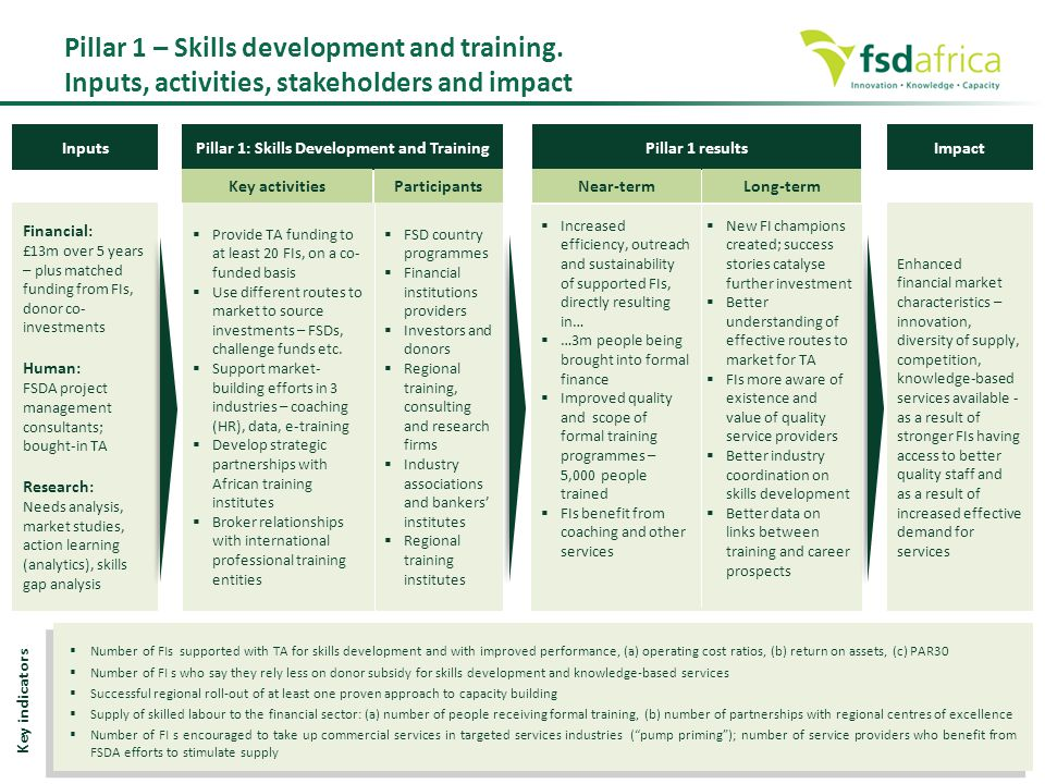 Pillar 1: Skills Development and Training