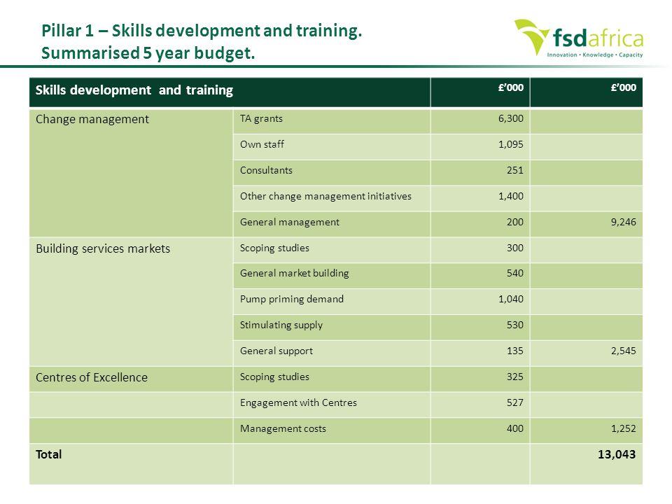 Pillar 1 – Skills development and training. Summarised 5 year budget.