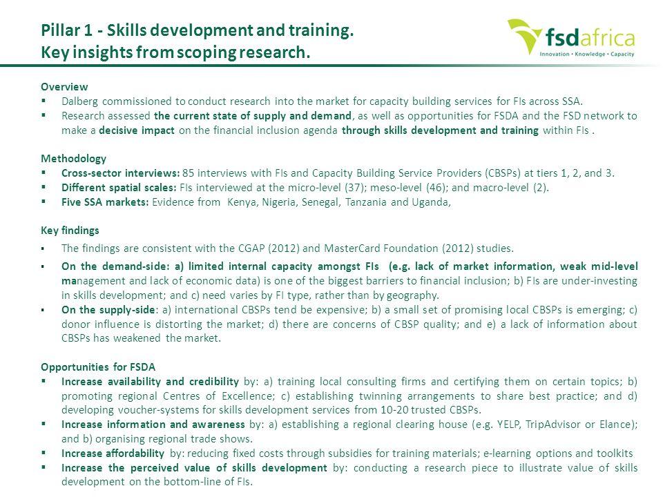 Pillar 1 - Skills development and training.