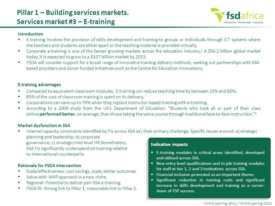 Pillar 1 – Building services markets. Services market #3 – E-training
