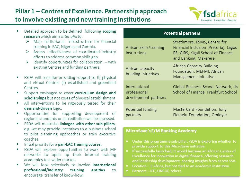 Pillar 1 – Centres of Excellence