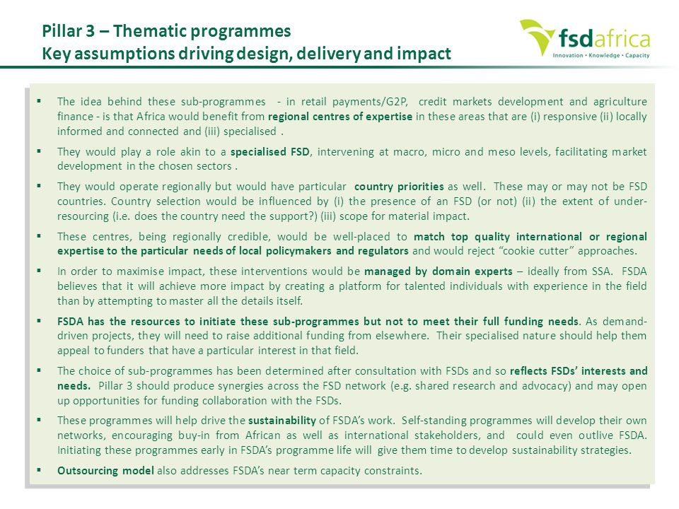 Pillar 3 – Thematic programmes