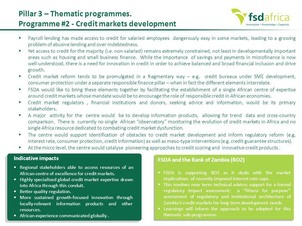 Pillar 3 – Thematic programmes.