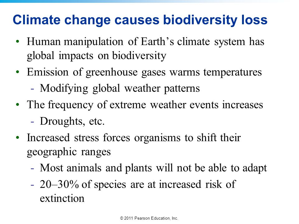 Climate change causes biodiversity loss