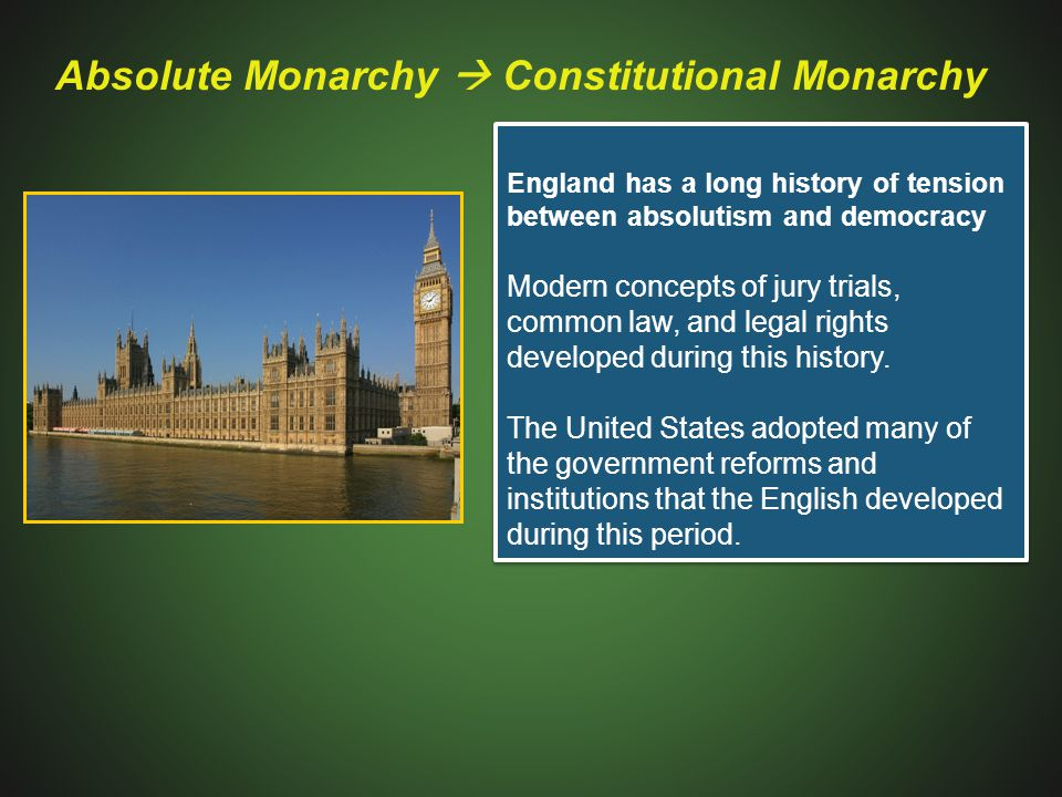 Absolute Monarchy  Constitutional Monarchy