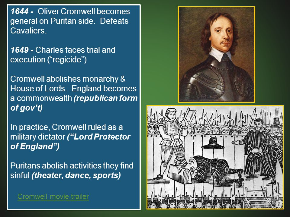 1649 - Charles faces trial and execution ( regicide )