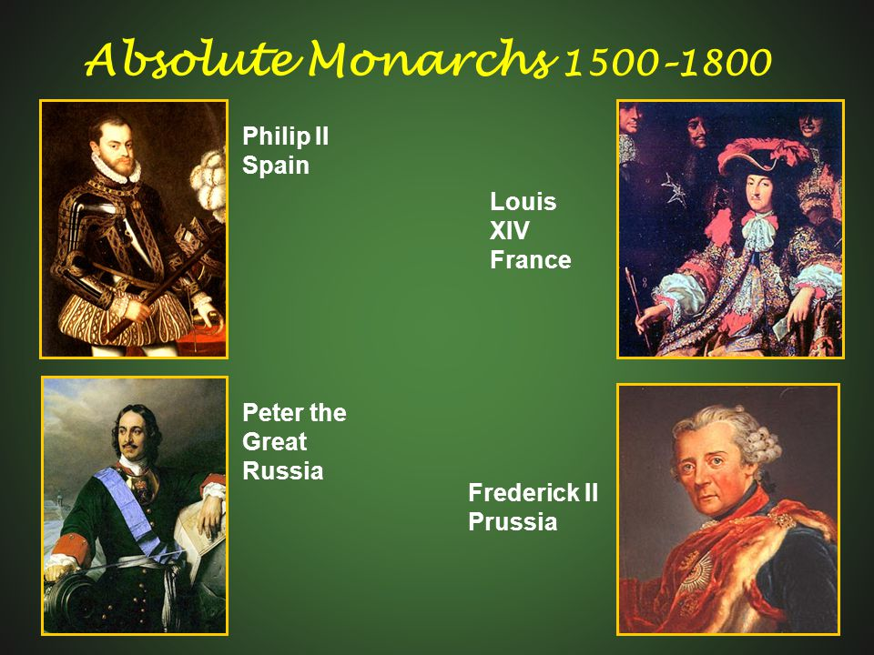 Absolute Monarchs 1500–1800 Philip II Spain Louis XIV France