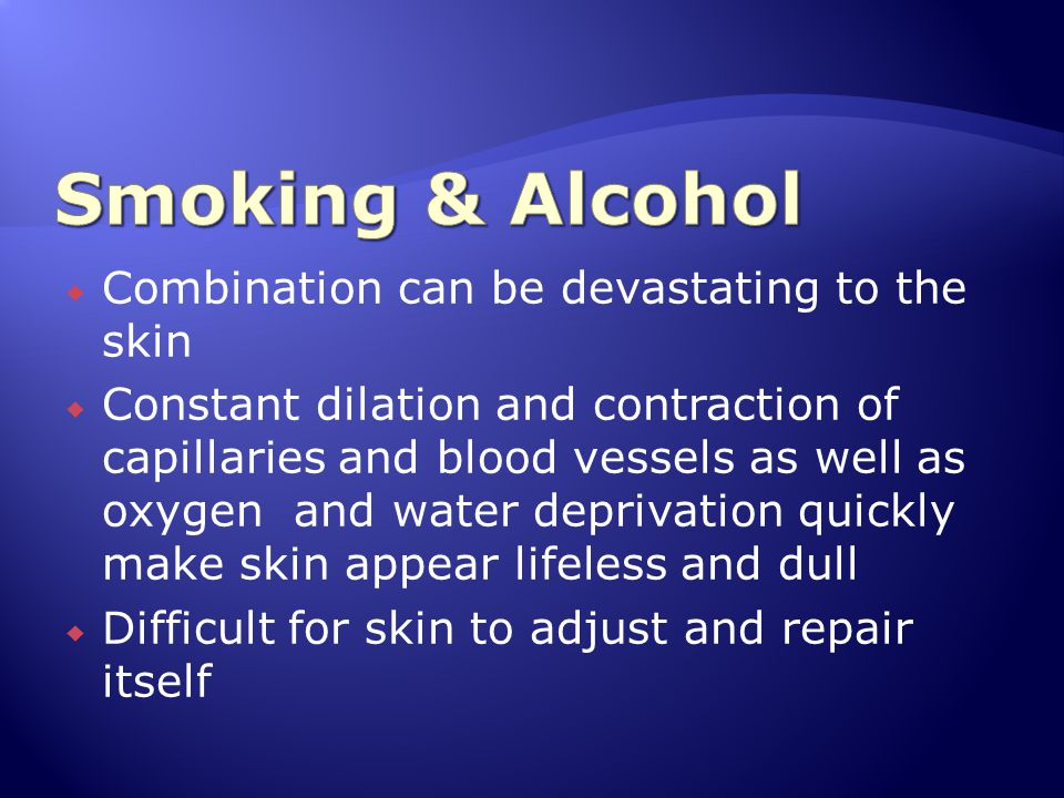 Smoking & Alcohol Combination can be devastating to the skin