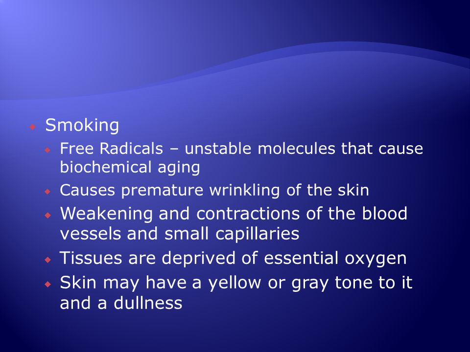 Weakening and contractions of the blood vessels and small capillaries