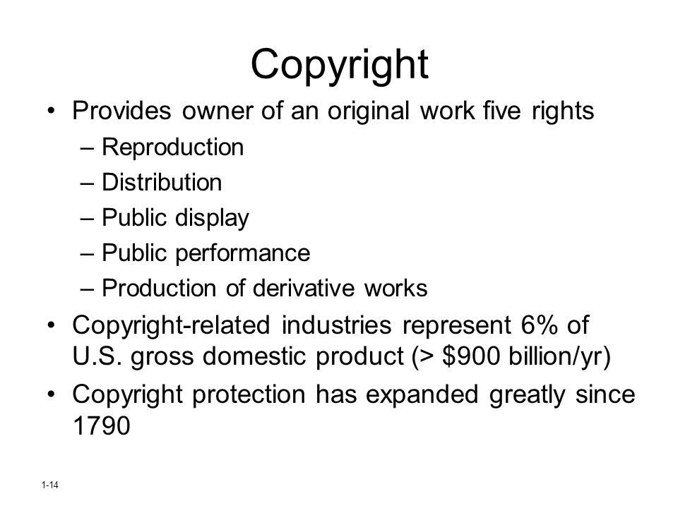 Copyright Provides owner of an original work five rights