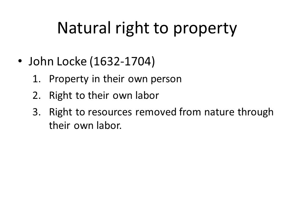 Natural right to property